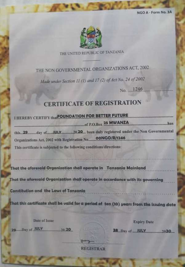 certificatie of Mamazulu being an NGO